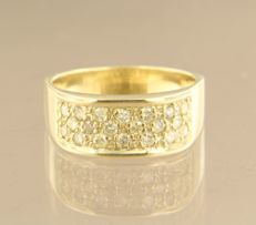14 kt yellow gold men's ring set with 20 brilliant cut diamonds, approximately 0.50 ct in total - ring size 18 (57)