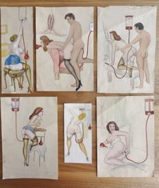 Original work; Lot with 6 pornographic drawings by an unknown artist - 1940/1950s