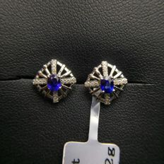 0.4 Carat Sapphire Earrings In 18K Solid White Gold with Diamond; Earring length:10.70mm, width: 10.54mm