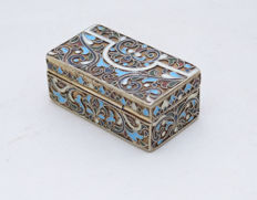 Tobacco Snuff Box with Cloisonné - Silver 84 - Enamel - Filigree - Russia - ca. 1880
