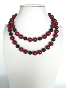 19.2 kt - Rubellite Necklace + moonstone - gold hoop clasp