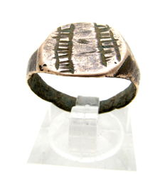 Ancient Roman bronze ring with Decoration on bezel - Wearable Gift with Gift Bag - 19 mm