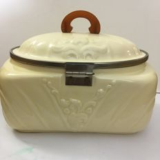 Special antique beauty case in soft chick yellow processed ceramics trimmed with metal and bakelite