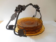 Scailmont dish with wrought iron handle and 5 matching dishes - 1935