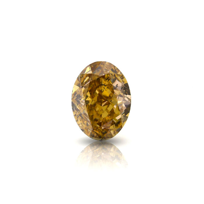 1.02 Ct. Natural Fancy Brown Yellow Oval Shape Diamond. GIA