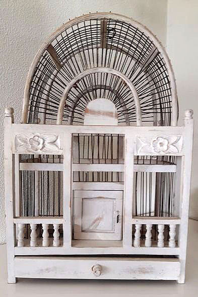 Beautiful brocante bird cage which is beautifully embellished with carved flowers and pillars