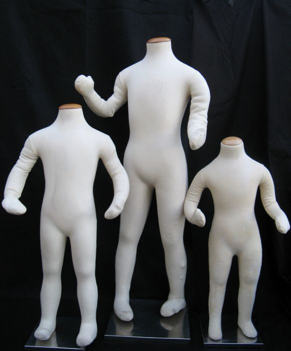 Three mannequins - complete body - articulated - with metal support