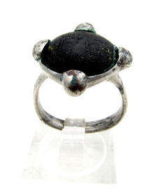 Saxon Era Silver Ring with black Stone - WEARABLE GIFT & BAG INCLUDED - 18 mm