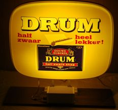 Old double-sided light box - DRUM - half zwaar heel lekker - 1970s