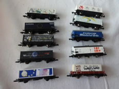 Marklin Z - 10-piece freight and container carriage collection