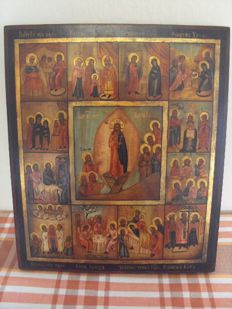 Russian icon of 12 Great Feasts - 20th century