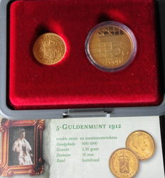 "Netherlands - 5 guilders 1912 and 2001 ""First and Last Fiver of our Queens"" set - gold"