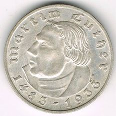 Germany, Third Reich - 2 Mark 1933 E 450th day of birth of Martin Luther - silver