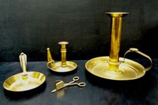 collection of 3 candles pans and a snuffer