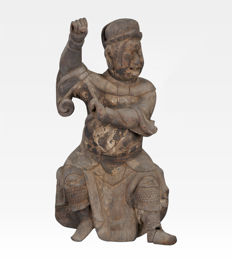 Large wooden sculpture of a temple Guardian (45 cm) - China - 17th century