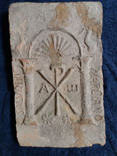 Visigothic period, mould-made architectural ceramic plaque decorated with reliefs ( 250 x 400 x 40 mm)