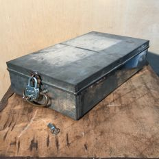Unknown designer - metal safe deposit drawer/box with lock