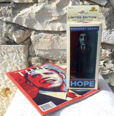 "OBAMA collector's figurine - ""Hope"" (Shepard Fairey (after)) - Numbered"