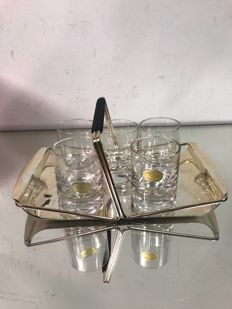 A set of Rosenthal glasses and silver plated WMF tray