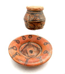 Indus Valley Painted Terracotta Cup and Plate - 44x42mm (cup) 76x19mm (plate)
