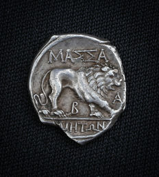 France (Gaul) - Marseille (Massalia) - AR Light drachma circa  130-121 BC
