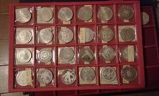 Austria - Lot of 127 coins - 100/50/25 Shillings - Proof quality, with some UNC, from 1960 to 1980 - silver