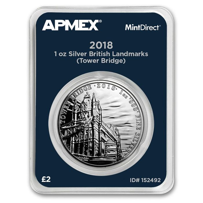 United Kingdom - 2 Pounds, 2018, 'Tower Bridge', MintDirect Slap / Packaging - 1 oz Silver