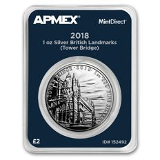 Großbritannien - 2 Pounds (2018) 'Tower Bridge' in MintDirect single verpackung - 1 oz silber