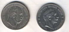 German Empire Prussia - 2 x 5 mark silver coins 1907 and 1894