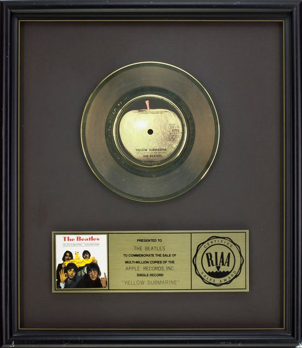 """The Beatles - Official RIAA Award - For the sale of multi-million copies of """"Yellow Submarine"""""""