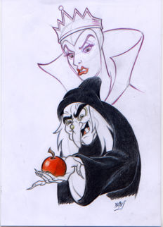 "Vives Mateu, Xavier - Original inspirational Sketch -  ""The evil queen transformed into a witch offers the poisoned apple to snow white"""