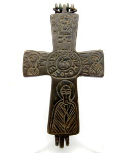 Medieval Crusaders Reliquary pendant with depiction of Jesus Christ and Saints - Holy Land - 96x43 mm