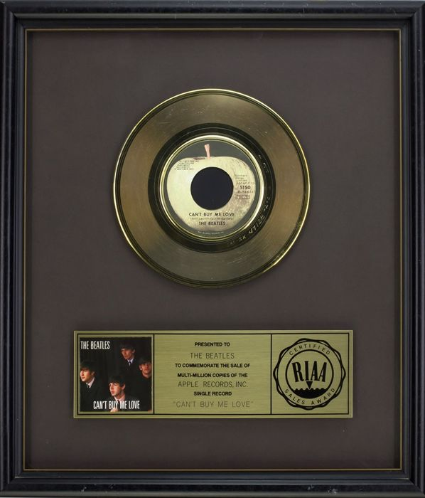 "The Beatles - Official RIAA Award - For the sale of multi million copies of ""Can´t buy me love"""