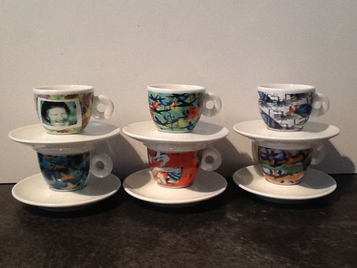 6 Illy espresso cups and saucers, Videogrammi - designed by Nam June Paik