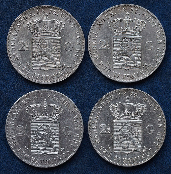 The Netherlands - 2½ guilders 1872, 1873, 1874 and 1874 (cloverleaf) WIllem III - slver