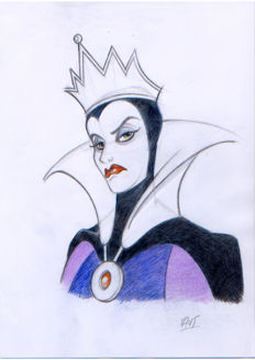 "Vives Mateu, Xavier - Original inspirational Sketch -  ""The evil queen make plans to kill Snow White"""