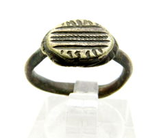 Viking Bronze Seal Ring with Decoration on Bezel - WEARABLE GIFT WITH GIFT BAG - 16mm