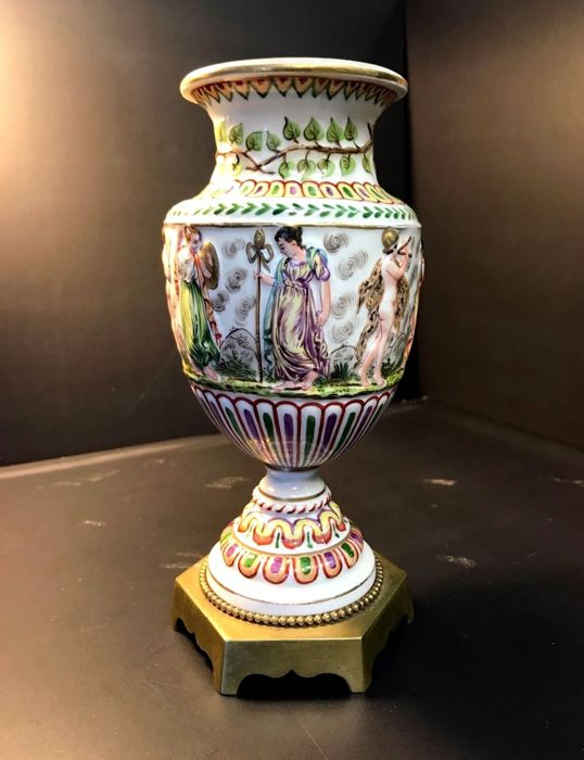 Antique Capodimonte Vase From 1800s Base In Pure Bronze Bas Relief
