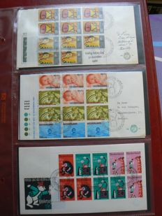 The Netherlands 1967/1972 - Set of child blocks on small FDC