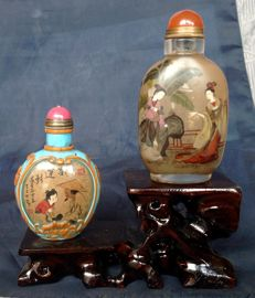 Set snuff bottles with stand - China - 21th century