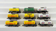 "Fleischmann H0 - 5033/5032/5401/5402/5411 - Nine tank wagons ""Esso"", ""Shell"", and ""BP"" of the DB"