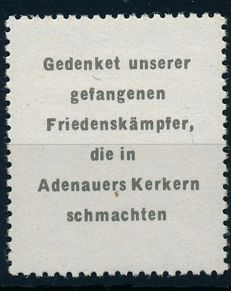 "GDR of East Germany - 1965 - propaganda stamp, so-called ""Adenauer stamp"", Michel no. 2 with photo expertise Zierer BPP"