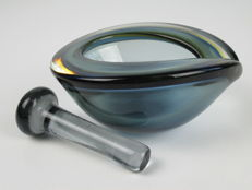 Hand-blown glass mortar with pestle - design - Seguso Style - 1960 - Origin Venice - Italy