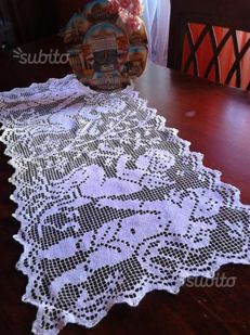 Triptych of doilies in antique filet lace, romantic of cupids + bobbin lace edged centre