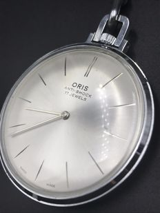 Steel timepiece by Oris with chain.