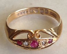 18 kt 5-stone ruby and diamond ring , size N