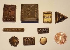 Collection (9 items) of Gold Weights and a Box for Gold Dust-ASHANTI (Akan)-Ghana (Gold Coast)