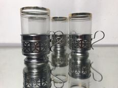 Set of four glasses with gilded rims + glass holders in Art Nouveau style