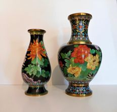 Two Chinese multicolored cloisonne vases - China - ca.1970