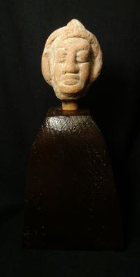 Male Head with Helmet/Head dress - Terracotta on Wood Mount - Total Mounted Size 15 x 7cms